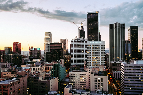 view of Downtown Los Angeles with the One Wilshire Building in the center; image by LA Owen CL