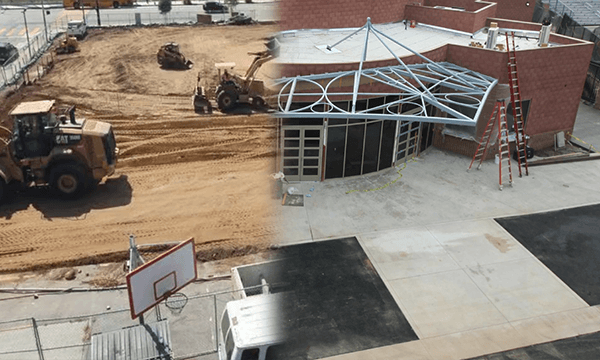 timelapse merged images of Cathedral High School Performing Arts Center construction
