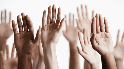 hands raised for questions