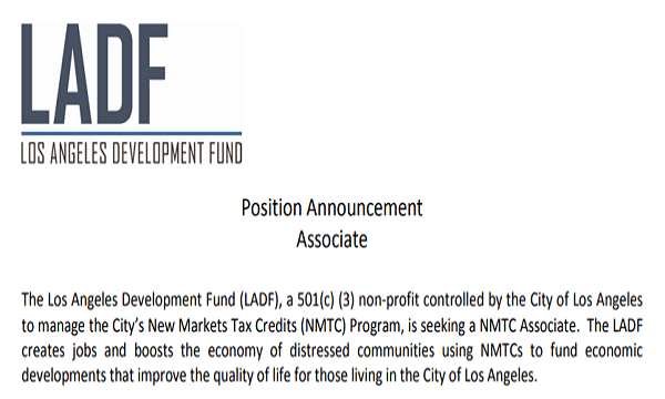 LADF NMTC Associate Position Announcement
