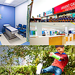images of Orthopaedic Institute for Children LA: waiting room, admissions desk, child with an armcast playing, grand opening of the new Ambulatory Surgery Center