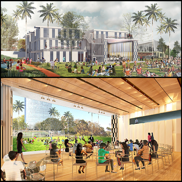 HOLA performing arts and recreation center renderings by project architects Berliner Architects and EDI Architecture, Inc.