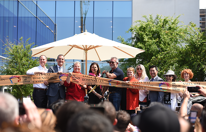 On April 7, 2019, the Los Angeles LGBT Center celebrated a ribbon cutting ceremony and grand opening for their Anita May Rosenstein Campus