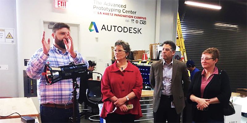 Annie Donovan, Director of the CDFI Fund, visits LACI's Advanced Prototyping Center at the La Kretz Innovation Campus