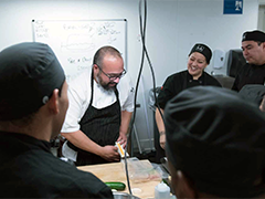 participants in the Empower LA culinary school, housed at LA Kitchen, for at-risk community members including those who have been incarcerated, are homeless or aged out of foster care (photos courtesy of goldenstate.is)