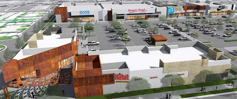 Primestor artist rendering of completed Jordan Downs Plaza with new tenants shown