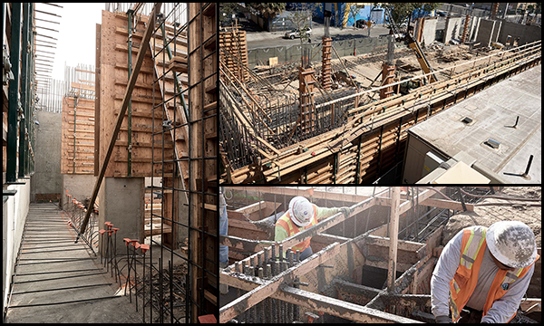 collage of construction images of the Joshua House Federally Qualified Health Center being built in downtown Los Angeles