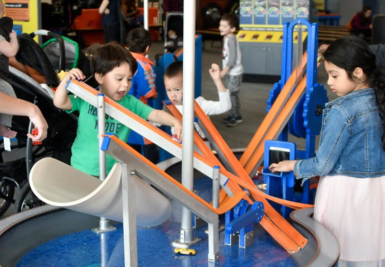 Kids play at a Hot Wheels exhibit at Discovery Cube LA on Saturday January 27,2019 (photo by Gene Blevins)
